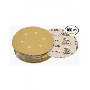 MIRKA - GOLD Абразивный круг на бум основе липучка 77мм 6 отв - 2363405061, упаковка 100 шт.